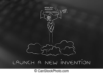 new product launch: item with rocket setup