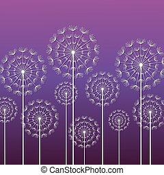 Purple background with white dandelions - Dark purple...