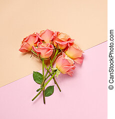 bouquet of pink roses, top view