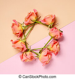wreath of pink roses on colorful paper background