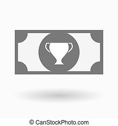 Isolated bank note with a cup - Illustration of an isolated...
