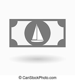 Isolated bank note with a ship - Illustration of an isolated...