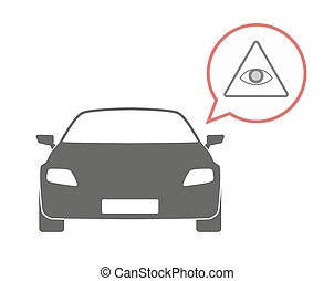 Isolated car with an all seeing eye - Illustration of an...
