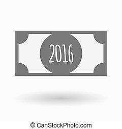 Isolated bank note with a 2016 sign - Illustration of an...
