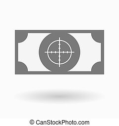 Isolated bank note with a crosshair - Illustration of an...