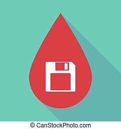 Long shadow blood drop with a floppy disk - Illustration of...