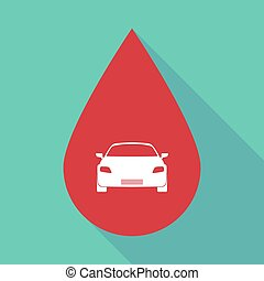 Long shadow blood drop with a car - Illustration of a long...