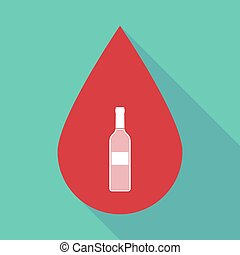 Long shadow blood drop with a bottle of wine