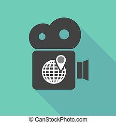 Long shadow cinema camera with a world globe