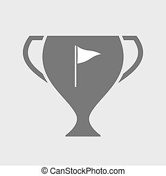 Isolated award cup with a golf flag - Illustration of an...