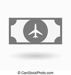 Isolated bank note with a plane - Illustration of an...