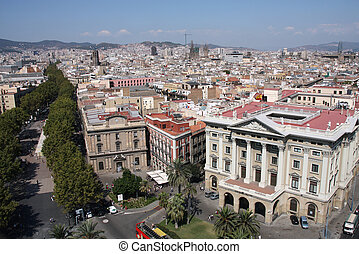Barcelona cityscape. Aerial view seen from the Columbus...