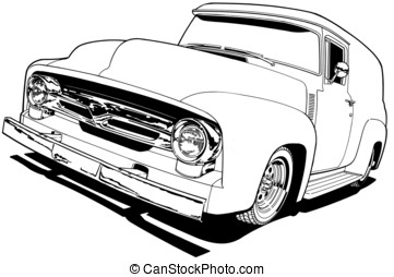 56 Ford F-100 Panel Truck - Black Line Illustration
