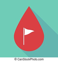 Long shadow blood drop with a golf flag - Illustration of a...