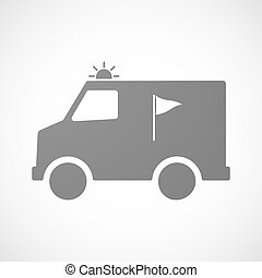 Isolated ambulance with a golf flag - Illustration of an...