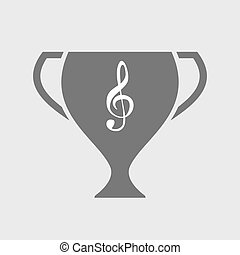 Isolated award cup with a g clef
