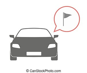 Isolated car with a golf flag - Illustration of an isolated...