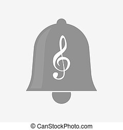 Isolated bell with a g clef - Illustration of an isolated...