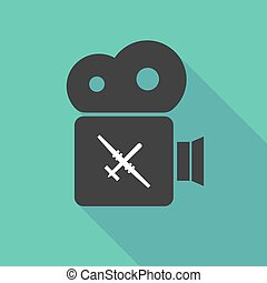 Long shadow cinema camera with a war drone - Illustration of...