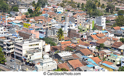 Aerial view of old Indian town