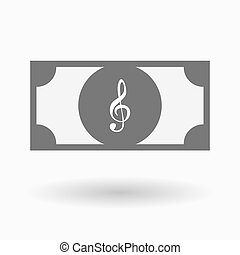 Isolated bank note with a g clef - Illustration of an...