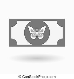 Isolated bank note with a butterfly - Illustration of an...