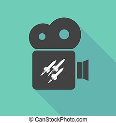 Long shadow cinema camera with missiles - Illustration of a...