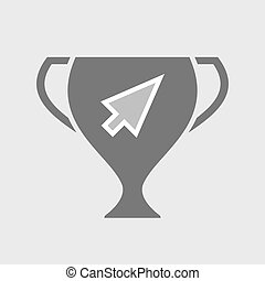 Isolated award cup with a cursor