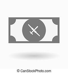 Isolated bank note with a war drone - Illustration of an...
