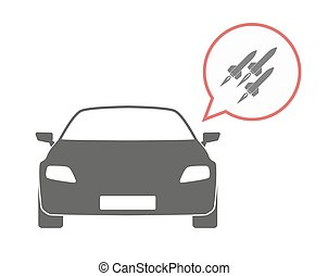 Isolated car with missiles - Illustration of an isolated car...