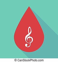 Long shadow blood drop with a g clef - Illustration of a...