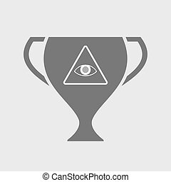 Isolated award cup with an all seeing eye - Illustration of...
