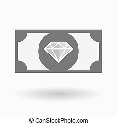 Isolated bank note with a diamond - Illustration of an...