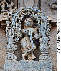 Statues on the walls of Hindu temple
