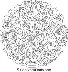Abstract Round Sea Wave Mandala with curls, swirls, hairs...