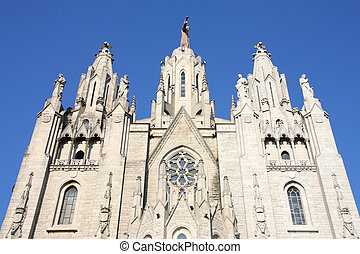 Tibidabo - Temple de Sagrat Cor at Tibidabo hill in...
