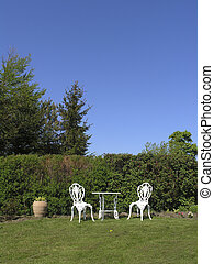 Garden furniture - white cast iron garden furniture set