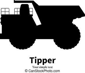Vector illustration black silhouette dump truck - Vector...