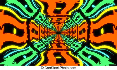 Abstract colorful endless corridor of identical elements