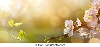 Spring flower background; Easter landscape