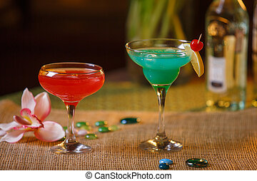 Two glasses of non-alcoholic cocktails - drinks in tall...