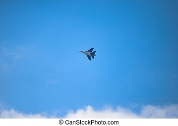 Jet fighter SU-30 - Russian newest fighter jet in the blue...