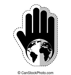 hand human with world planet silhouette icon