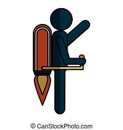 human figure with rocket vector illustration design