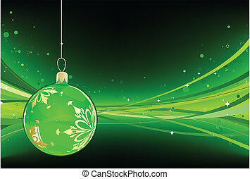 christmas ball - Vector illustration of green Holiday card...