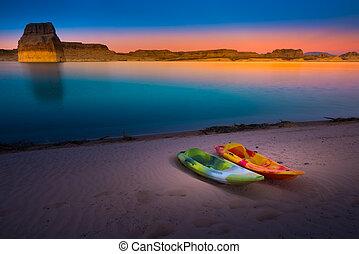 Kayaking Lake Powell Lone Rock at Sunset Utah USA - Two...