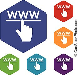 Hand cursor and website icons set rhombus in different...