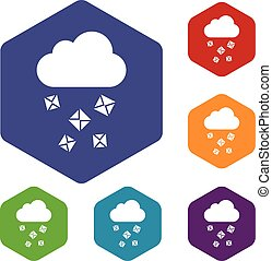 Cloud and hail icons set rhombus in different colors...