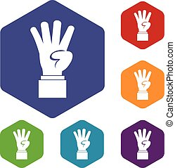 Hand showing number four icons set rhombus in different...