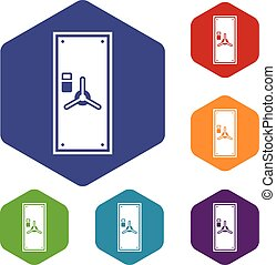 Safe door icons set rhombus in different colors isolated on...
